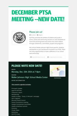 DECEMBER PTSA MEETING --NEW DATE!