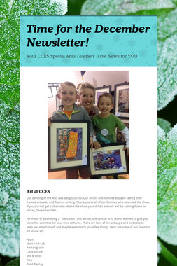 Time for the December Newsletter!