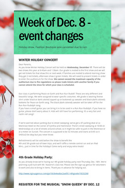 Week of Dec. 8 -  event changes