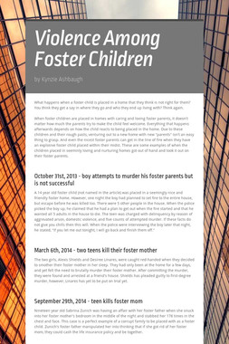Violence Among Foster Children