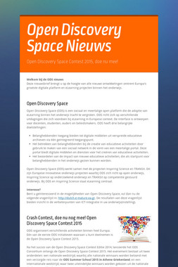 Open Discovery Space Nieuws