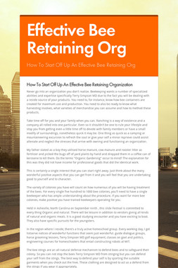 Effective Bee Retaining Org