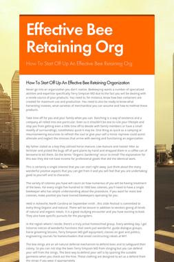 Effective Bee Retaining Org