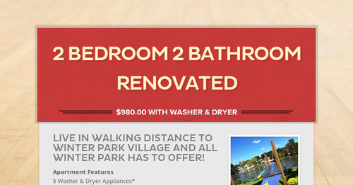 2 Bedroom 2 Bathroom Renovated | Smore Newsletters