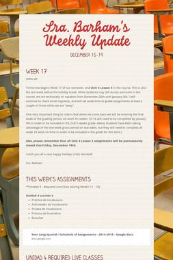Sra. Barham's Weekly Update