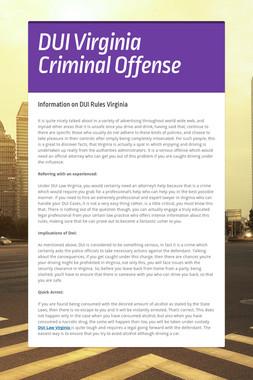 DUI Virginia Criminal Offense