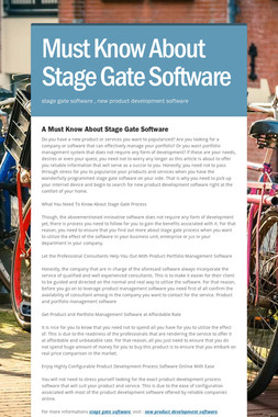 Must Know About Stage Gate Software