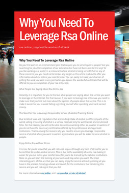 Why You Need To Leverage Rsa Online
