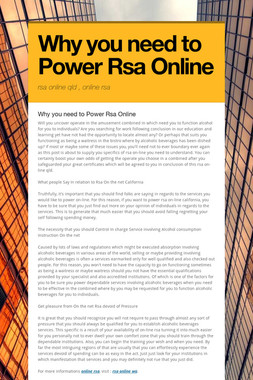 Why you need to Power Rsa Online