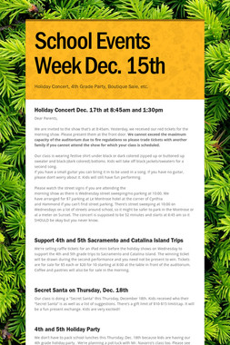 School Events Week Dec. 15th