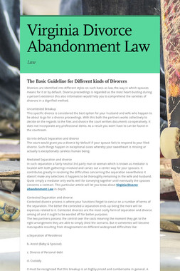 Virginia Divorce Abandonment Law