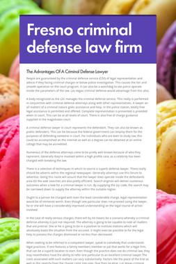 Fresno criminal defense law firm