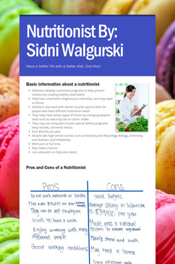 Nutritionist    By: Sidni Walgurski