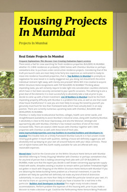 Housing Projects In Mumbai