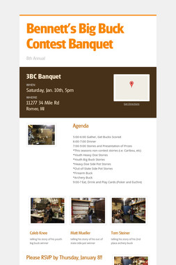 Bennett's Big Buck Contest Banquet