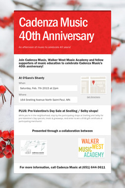 Cadenza Music 40th Anniversary