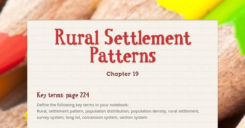 define rural settlement