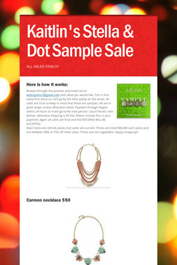 Kaitlin's Stella & Dot Sample Sale
