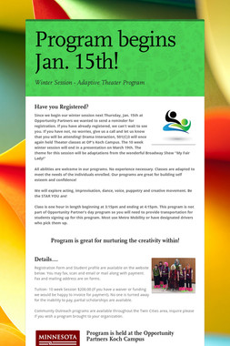 Program begins Jan. 15th!