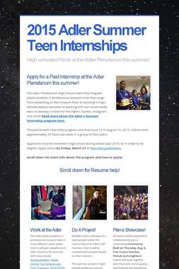 2015 Adler Summer Teen Internships
