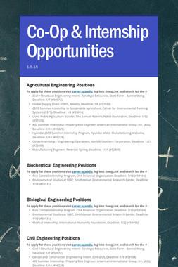 Co-Op & Internship Opportunities