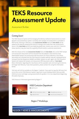 TEKS Resource Assessment Update