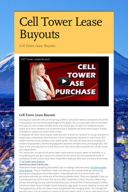 Cell Tower Lease Buyouts