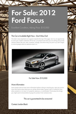 For Sale: 2012 Ford Focus