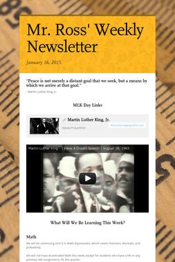 Mr. Ross' Weekly Newsletter