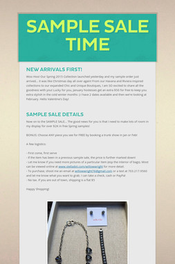 Sample Sale Time