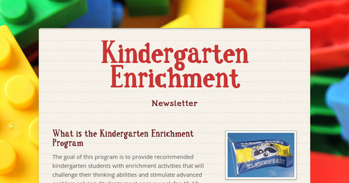 Kindergarten Enrichment | Smore Newsletters for Education