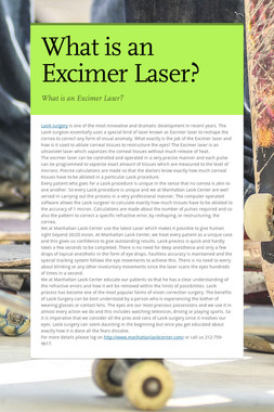 What is an Excimer Laser?