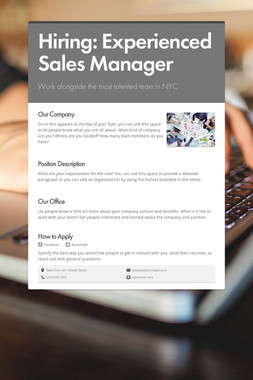 Hiring: Experienced Sales Manager