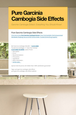 Pure Garcinia Cambogia Side Effects