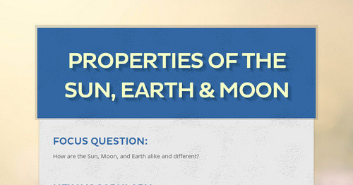 Properties of the sun earth moon smore newsletters ccuart Choice Image