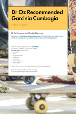 Dr Oz Recommended Garcinia Cambogia