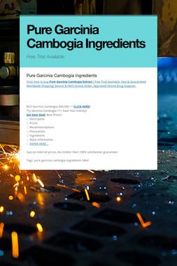 Pure Garcinia Cambogia Ingredients