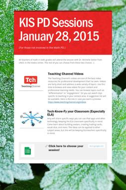 KIS PD Sessions January 28, 2015