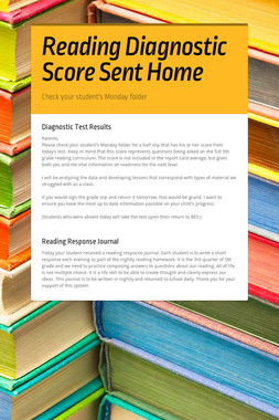 Reading Diagnostic Score Sent Home