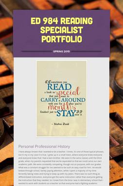 ED 984 Reading Specialist Portfolio