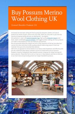 Buy Possum Merino Wool Clothing UK