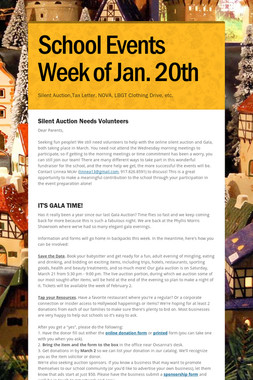 School Events Week of Jan. 20th