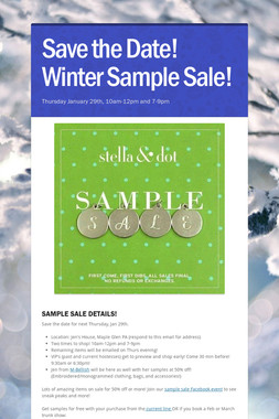 Save the Date! Winter Sample Sale!