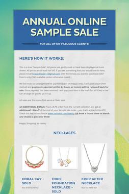 Annual Online Sample Sale