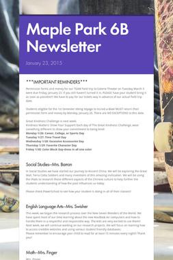 Maple Park 6B Newsletter