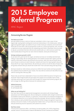 2015 Employee Referral Program