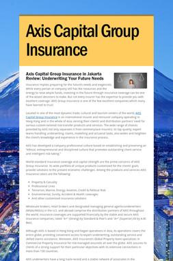 Axis Capital Group Insurance