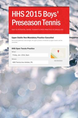 HHS 2015 Boys' Preseason Tennis