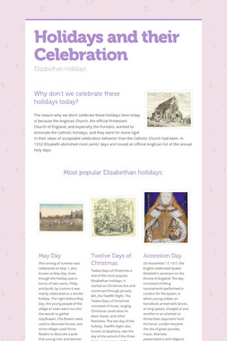 Holidays and their Celebration