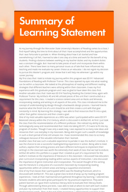 Summary of Learning Statement